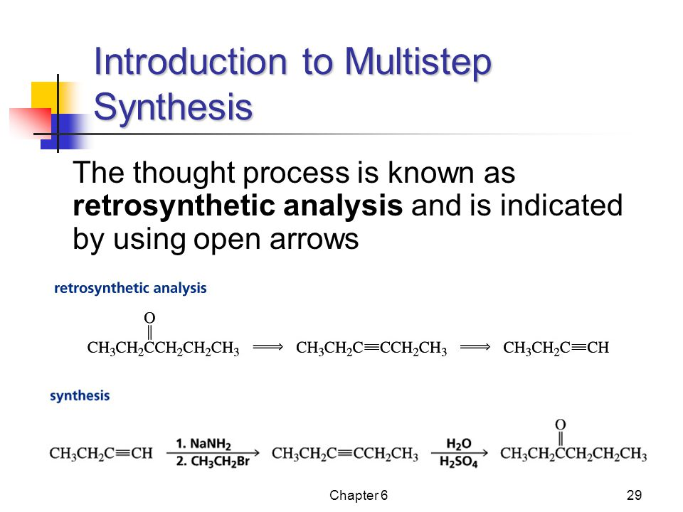 Chapter 629 The thought process is known as retrosynthetic analysis and is indicated by using open arrows Introduction to Multistep Synthesis
