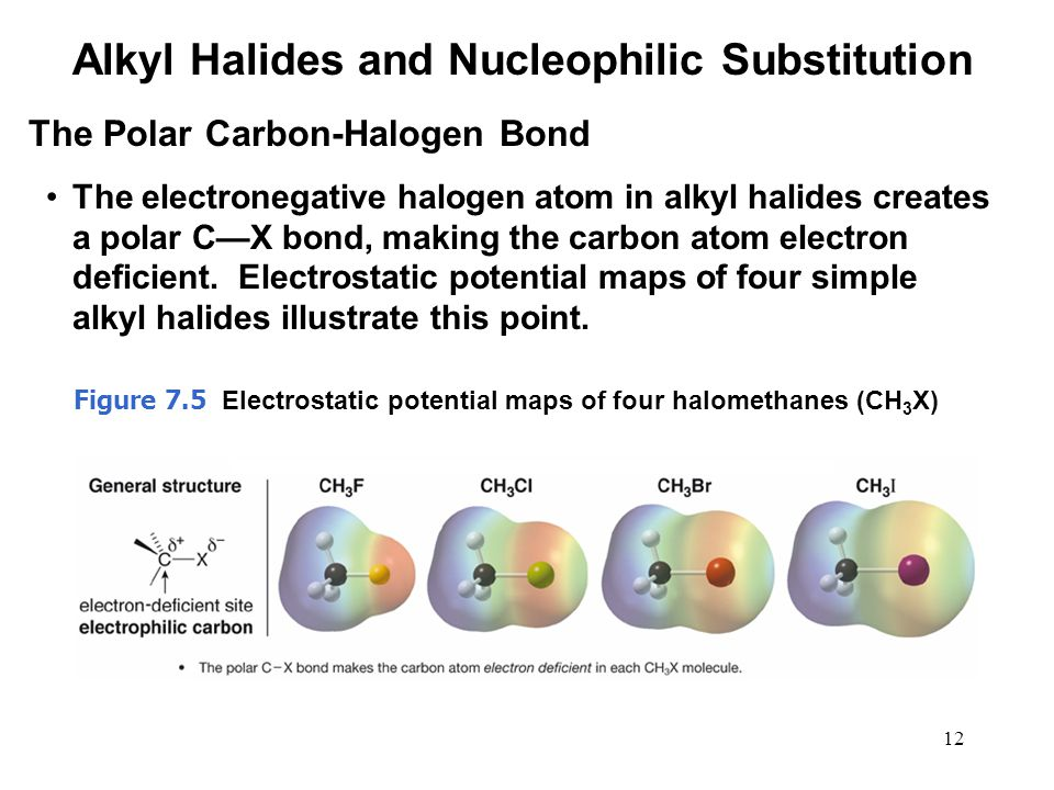 12 The electronegative halogen atom in alkyl halides creates a polar C—X bond, making the carbon atom electron deficient. Electrostatic potential maps