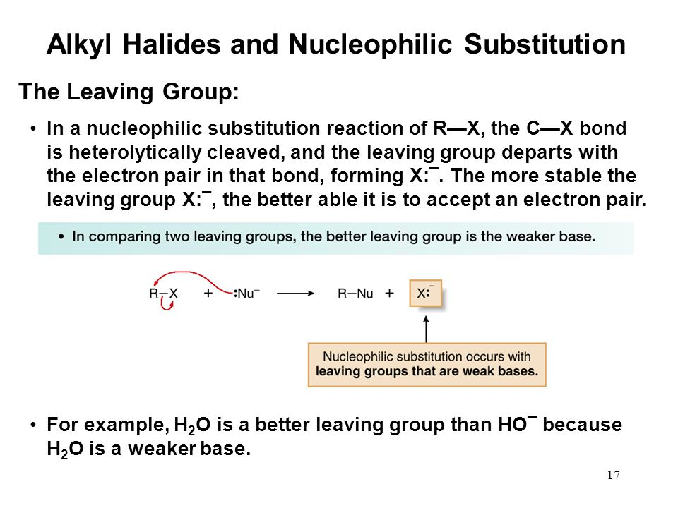 17 In a nucleophilic substitution reaction of R—X, the C—X bond is heterolytically cleaved, and the leaving group departs with the electron pair in that bond, forming X: ¯.