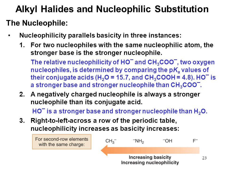 23 Nucleophilicity parallels basicity in three instances: 1.For two nucleophiles with the same nucleophilic atom, the stronger base is the stronger nucleophile.