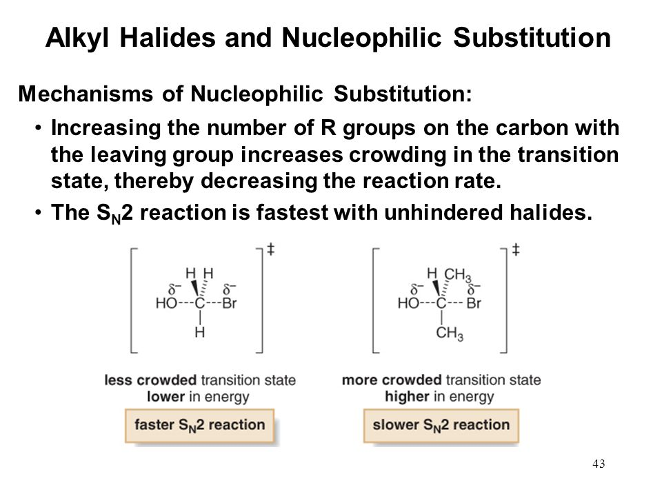 43 Increasing the number of R groups on the carbon with the leaving group increases crowding in the transition state, thereby decreasing the reaction