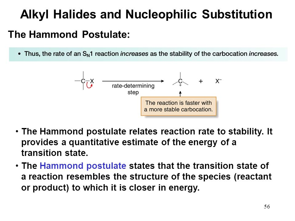 56 The Hammond postulate relates reaction rate to stability. It provides a quantitative estimate of the energy of a transition state. The Hammond post