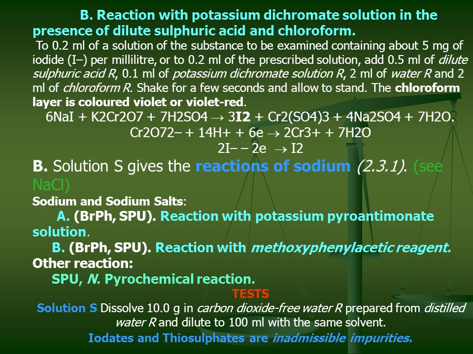 B. Reaction with potassium dichromate solution in the presence of dilute sulphuric acid and chloroform. To 0.2 ml of a solution of the substance to be