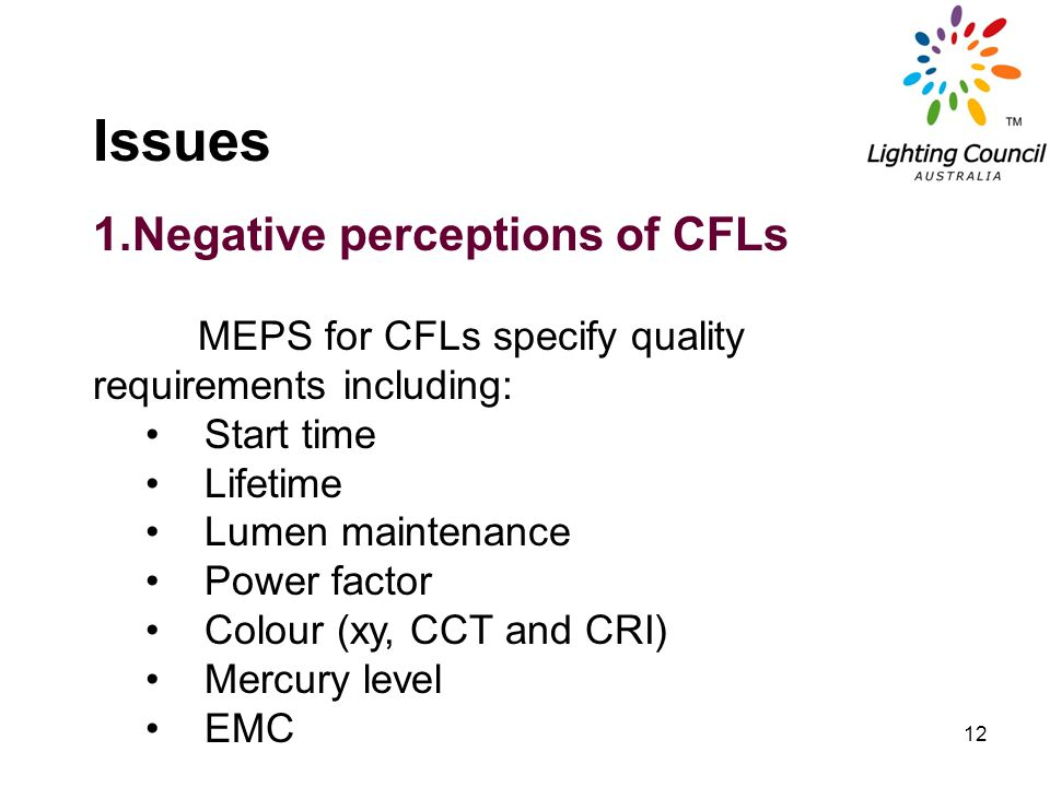 12 Issues 1.Negative perceptions of CFLs MEPS for CFLs specify quality requirements including: Start time Lifetime Lumen maintenance Power factor Colo