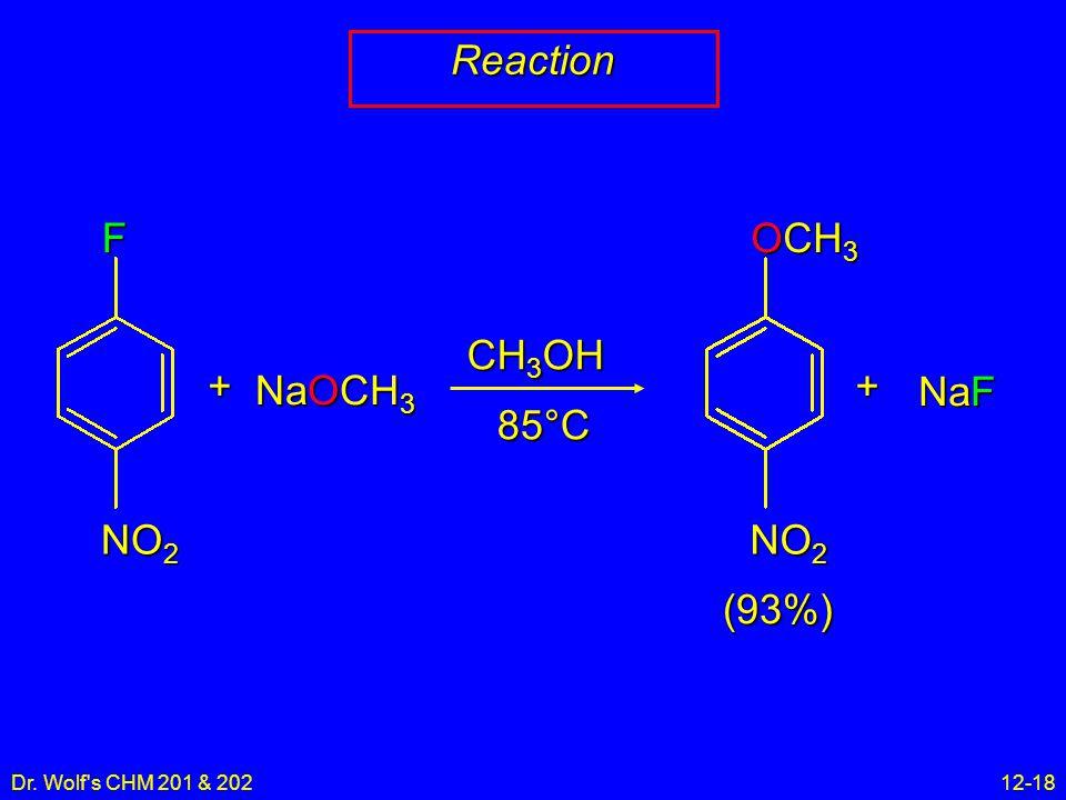 Dr. Wolf's CHM 201 & 20212-18 ReactionF NO 2 + NaOCH 3 CH 3 OH 85°C OCH 3 NO 2 + NaF (93%)