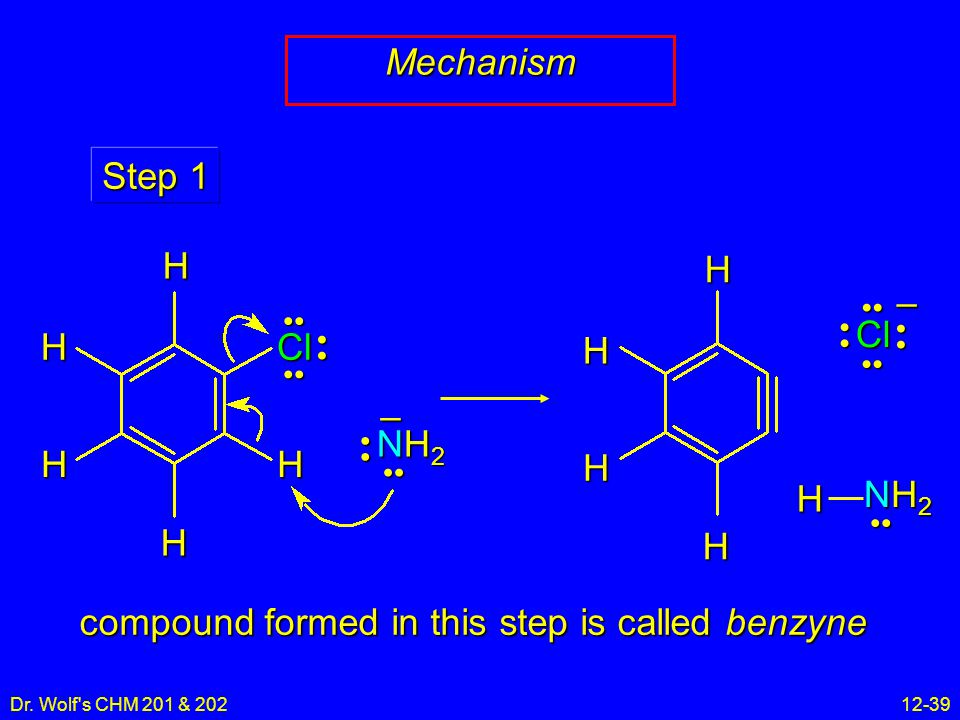 Dr. Wolf's CHM 201 & 20212-39 Mechanism NH2NH2NH2NH2 – Step 1 HH H H Cl H HHH H NH2NH2NH2NH2 H Cl – compound formed in this step is called benzyne