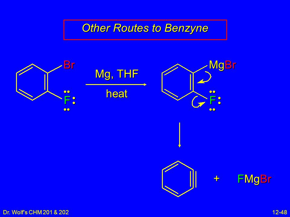 Dr. Wolf s CHM 201 & 20212-48 Other Routes to Benzyne BrF Mg, THF heat MgBr F FMgBr +