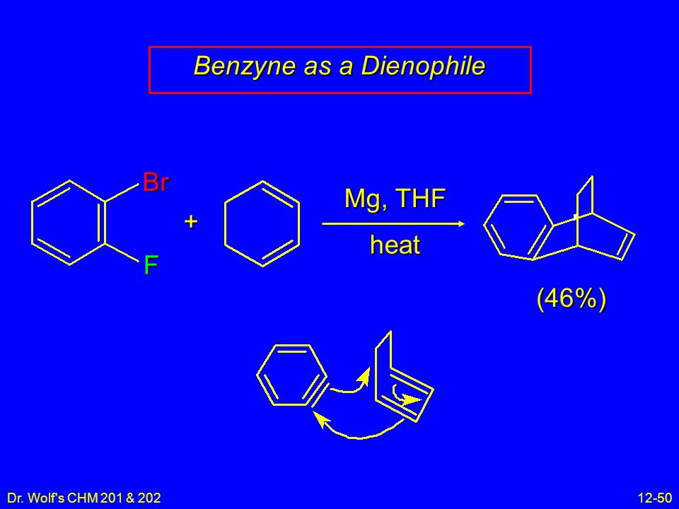 Dr. Wolf s CHM 201 & 20212-50 Benzyne as a Dienophile Br F Mg, THF heat + (46%)