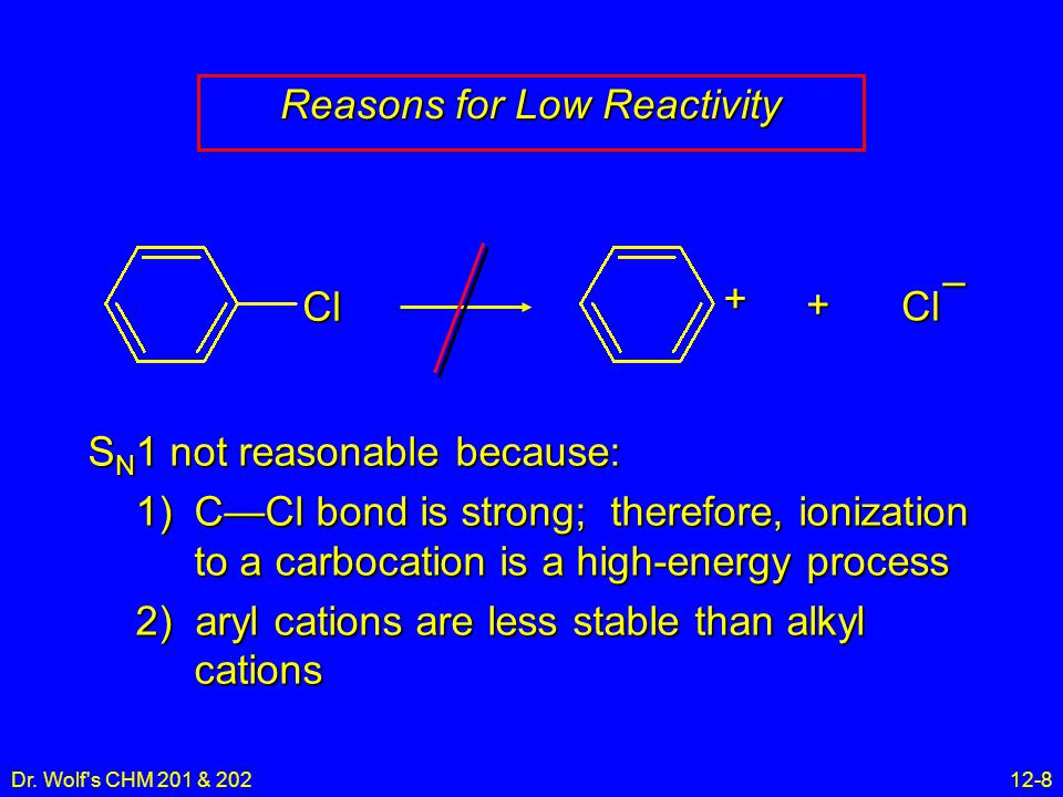 Dr. Wolf's CHM 201 & 20212-8 Reasons for Low Reactivity S N 1 not reasonable because: 1)C—Cl bond is strong; therefore, ionization to a carbocation is