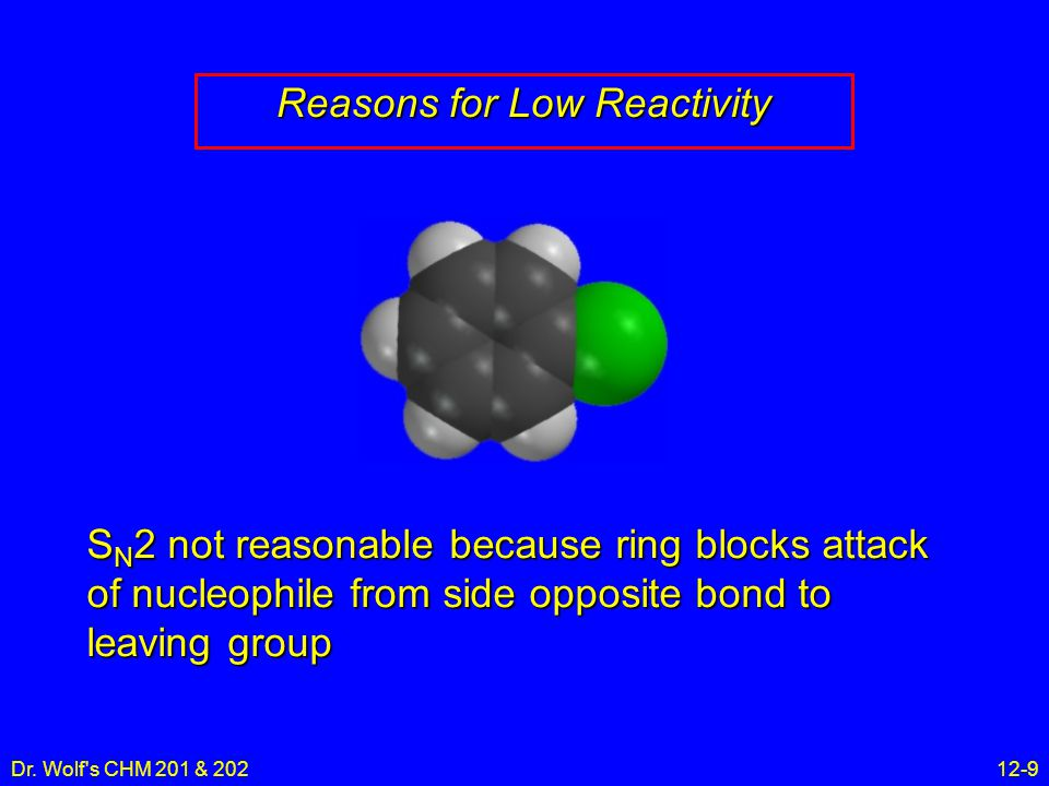 Dr. Wolf's CHM 201 & 20212-9 Reasons for Low Reactivity S N 2 not reasonable because ring blocks attack of nucleophile from side opposite bond to leav