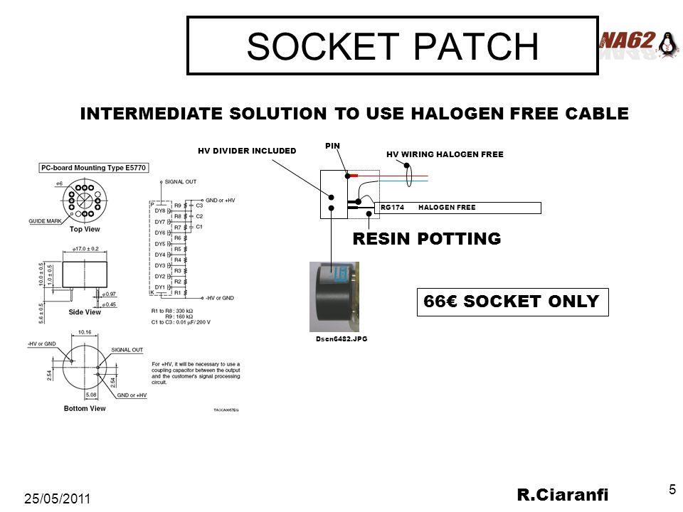 R.Ciaranfi 25/05/2011 5 SOCKET PATCH INTERMEDIATE SOLUTION TO USE HALOGEN FREE CABLE RG174 HALOGEN FREE RESIN POTTING HV WIRING HALOGEN FREE Dscn6482.JPG PIN HV DIVIDER INCLUDED 66€ SOCKET ONLY