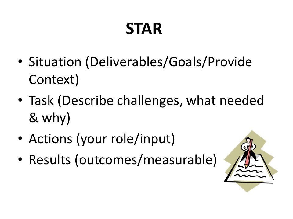 STAR Situation (Deliverables/Goals/Provide Context) Task (Describe challenges, what needed & why) Actions (your role/input) Results (outcomes/measurable)