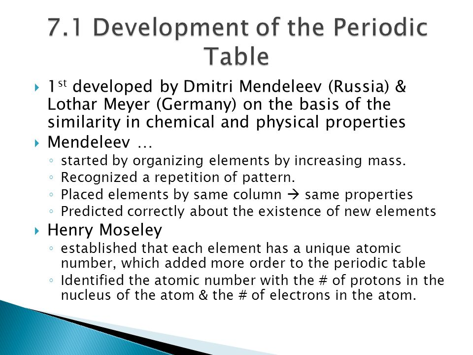  1 st developed by Dmitri Mendeleev (Russia) & Lothar Meyer (Germany) on the basis of the similarity in chemical and physical properties  Mendeleev