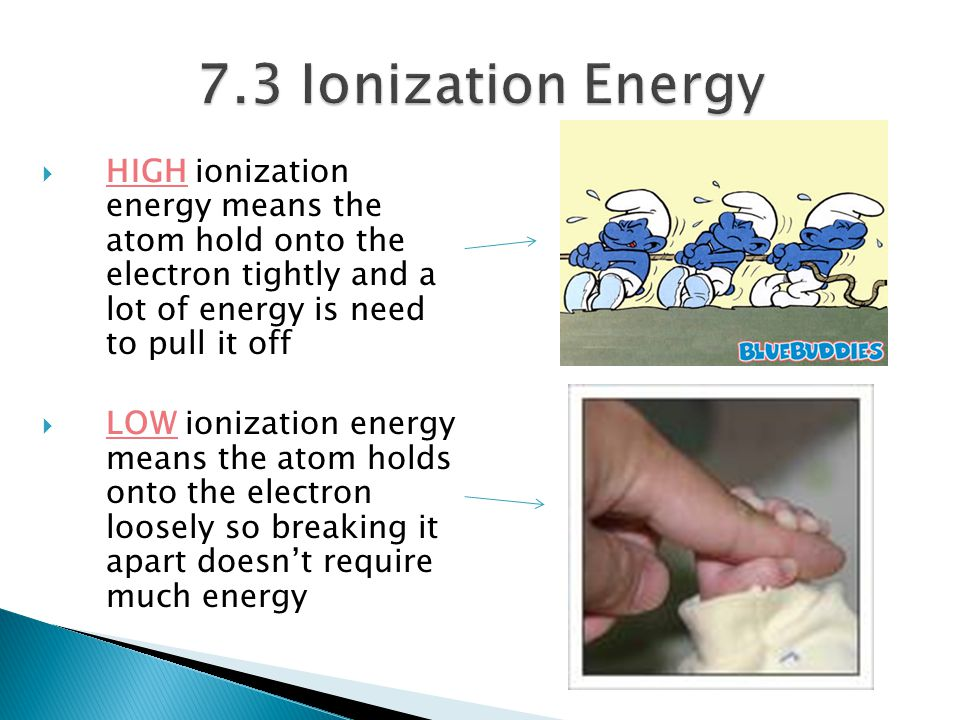  HIGH ionization energy means the atom hold onto the electron tightly and a lot of energy is need to pull it off  LOW ionization energy means the at