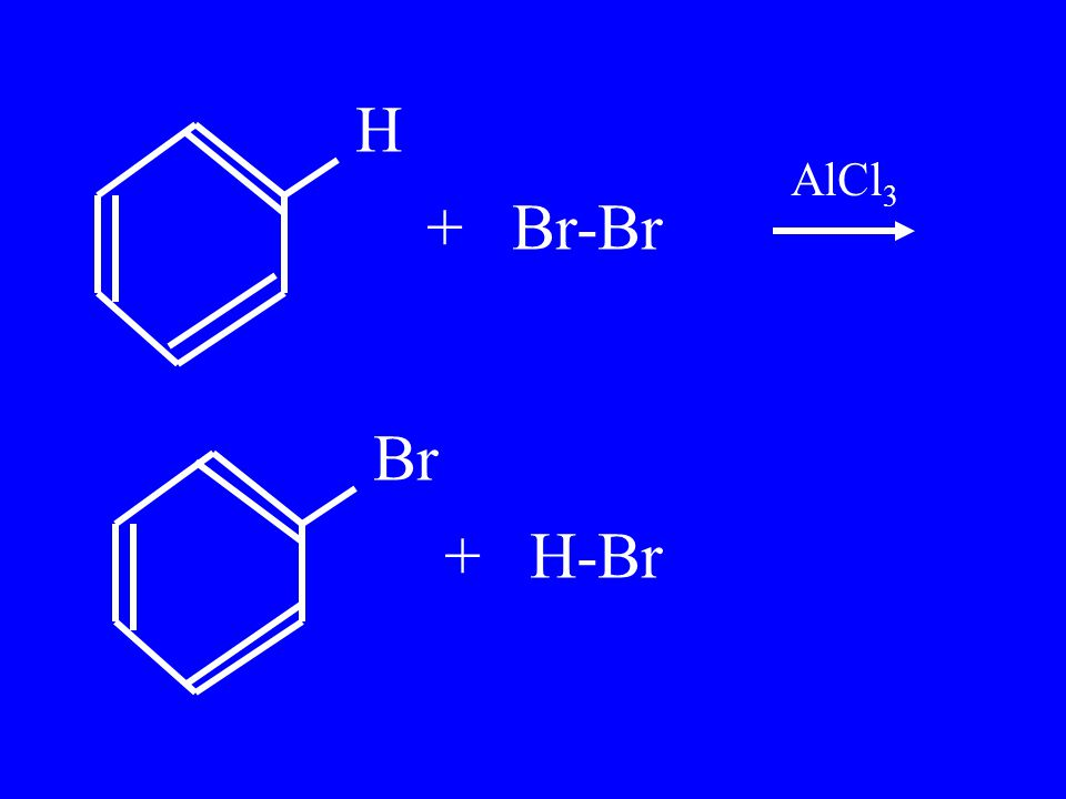 H + Br-Br Br + H-Br AlCl 3