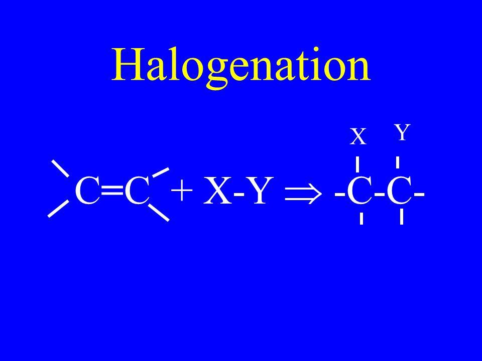 Halogenation C=C + X-Y  -C-C- X Y