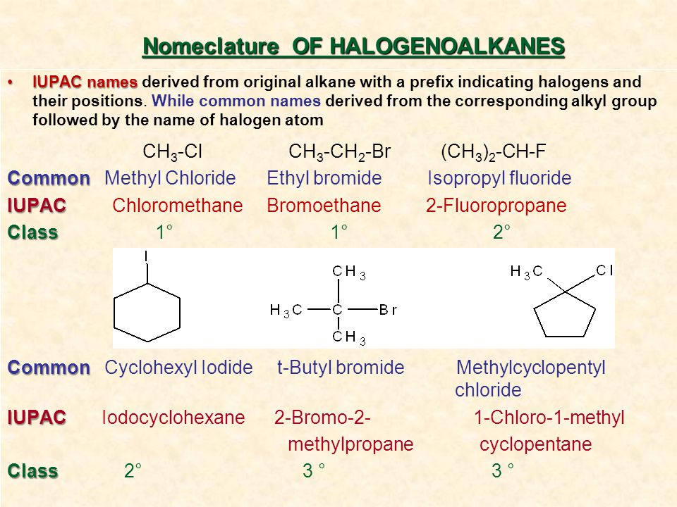 IUPAC namesIUPAC names derived from original alkane with a prefix indicating halogens and their positions. While common names derived from the corresp
