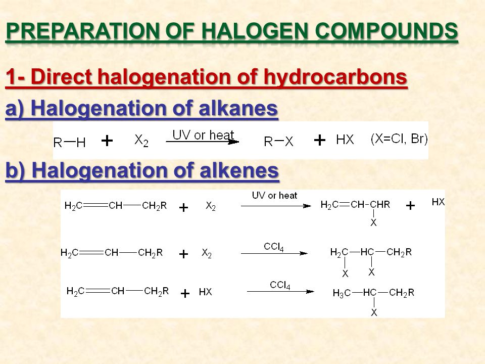 1- Direct halogenation of hydrocarbons a) Halogenation of alkanes b) Halogenation of alkenes