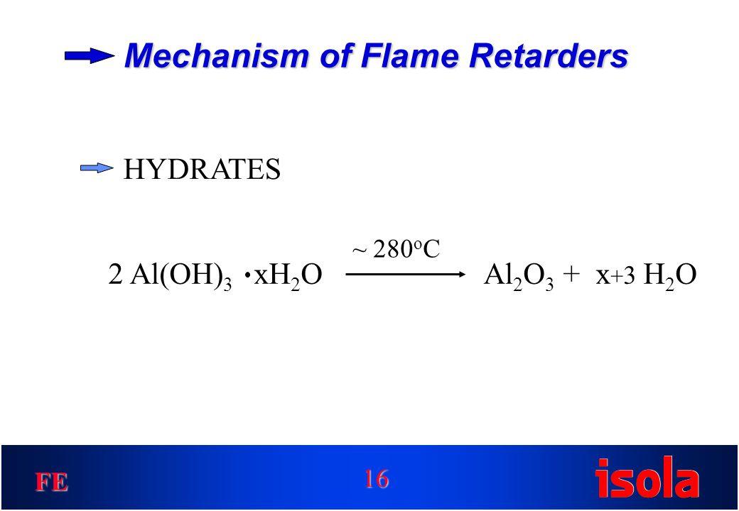 FE Mechanism of Flame Retarders HYDRATES Al 2 O 3 + x + 3 H 2 O2 Al(OH) 3 xH 2 O 16 ~ 280 o C