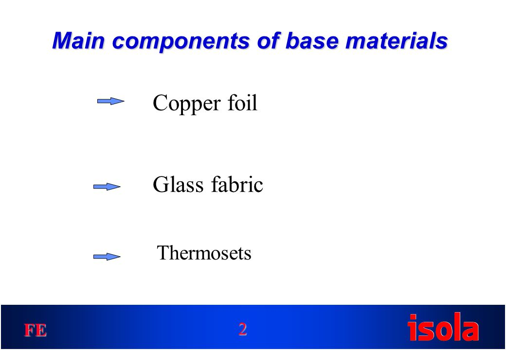 FE Main components of base materials Copper foil Glass fabric Thermosets 2