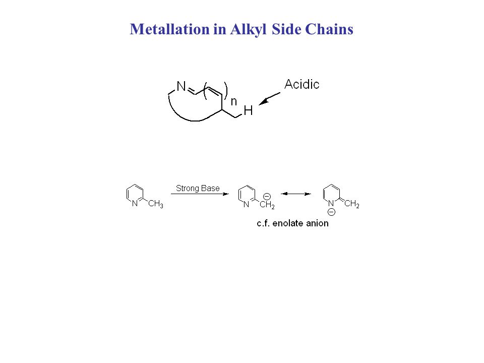 Metallation in Alkyl Side Chains