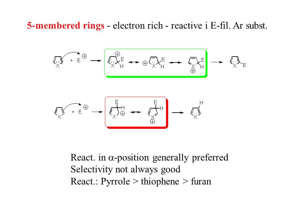 5-membered rings - electron rich - reactive i E-fil.