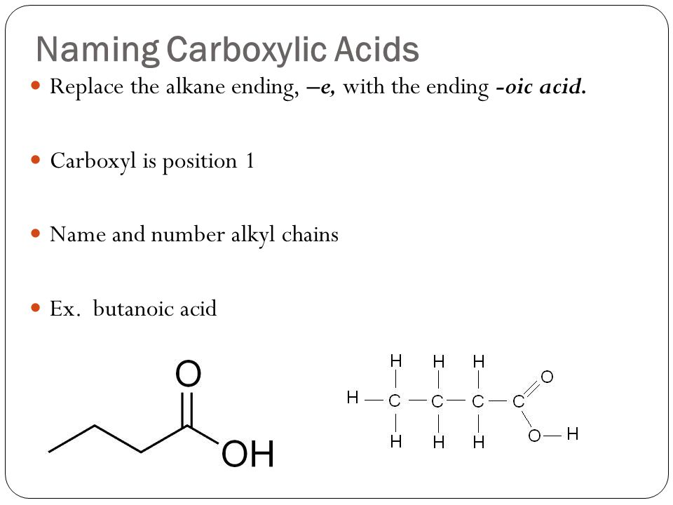 Naming Carboxylic Acids Replace the alkane ending, –e, with the ending -oic acid.