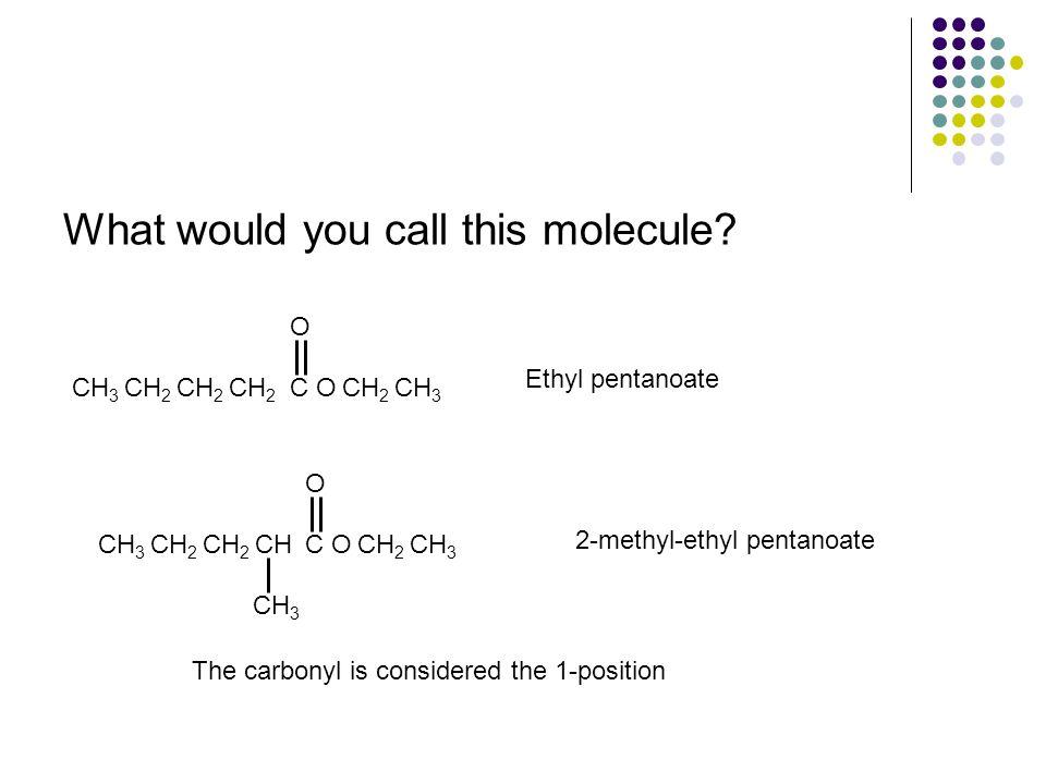 What would you call this molecule? CH 3 O CH 2 O C Ethyl pentanoate CH 3 OCH 2 O CH 3 CH 2 CHCH 2 C 2-methyl-ethyl pentanoate The carbonyl is consider