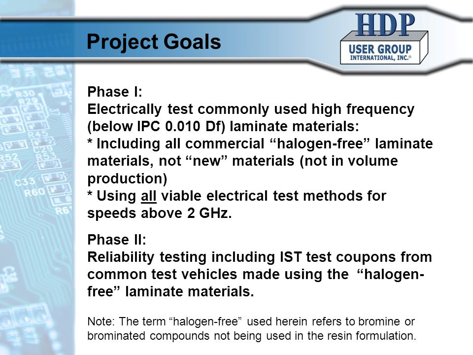 "Phase I: Electrically test commonly used high frequency (below IPC 0.010 Df) laminate materials: * Including all commercial ""halogen-free"" laminate ma"