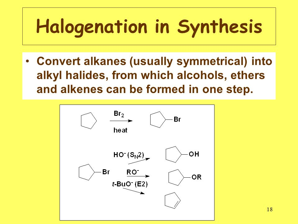 18 Halogenation in Synthesis Convert alkanes (usually symmetrical) into alkyl halides, from which alcohols, ethers and alkenes can be formed in one step.