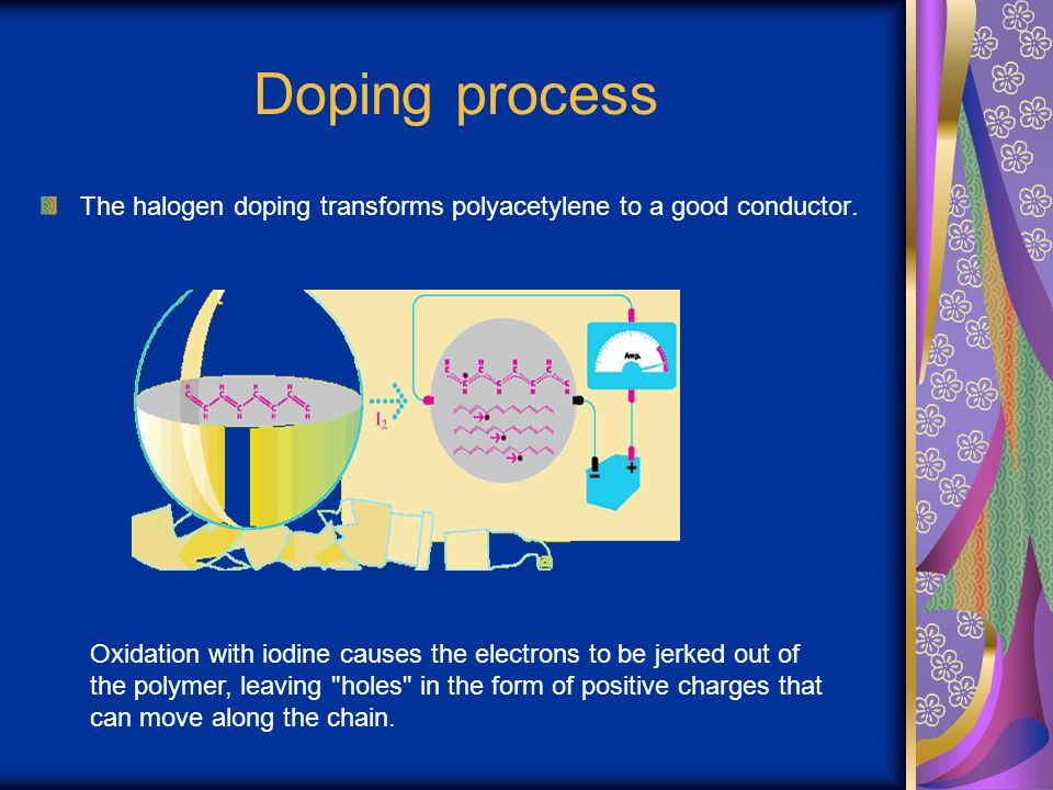 Doping process The halogen doping transforms polyacetylene to a good conductor. Oxidation with iodine causes the electrons to be jerked out of the pol