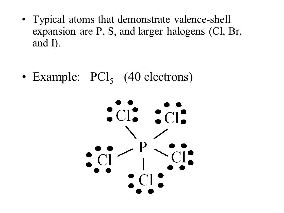 Typical atoms that demonstrate valence-shell expansion are P, S, and larger halogens (Cl, Br, and I).