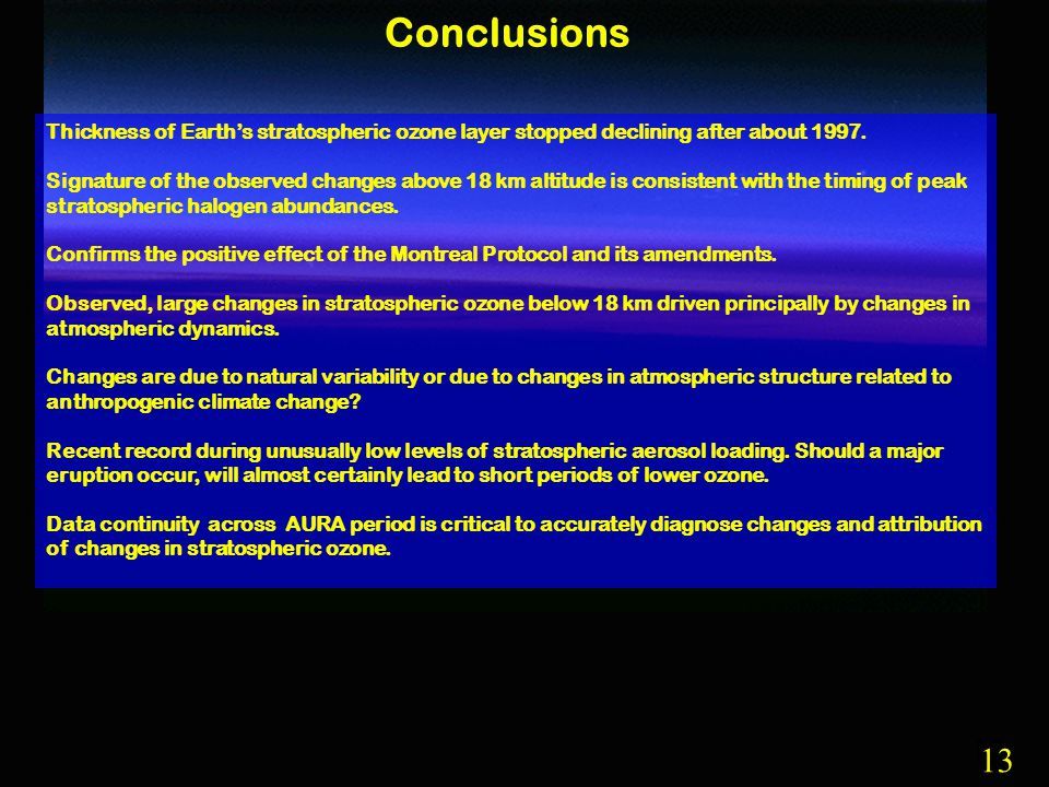 13 Conclusions Thickness of Earth's stratospheric ozone layer stopped declining after about 1997.