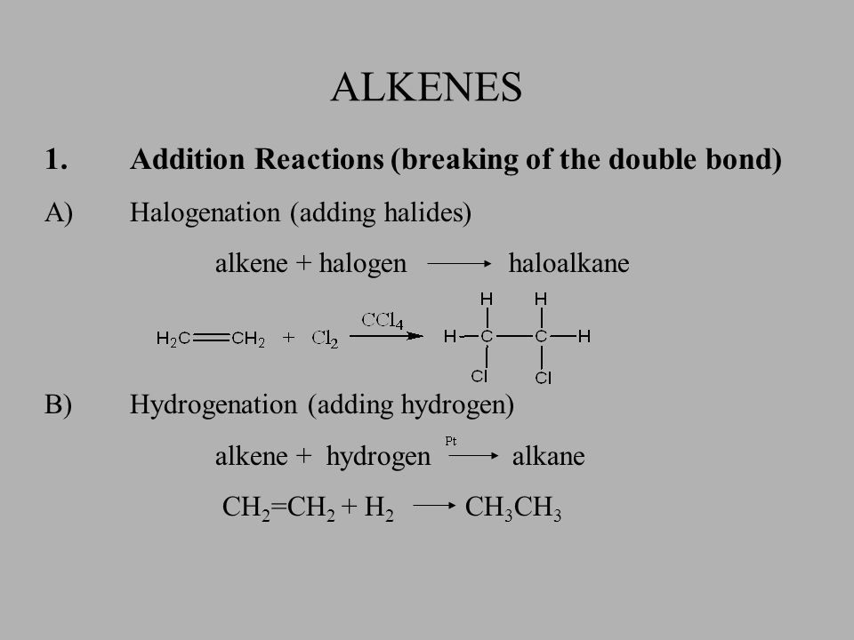 C)Hydrohalogenation (adding hydrogen halides) alkene + hydrogen halide haloalkane Hydrohalogenation and hydration follow Markovnikov's Rule which states that the hydrogen is added to the carbon with the most hydrogen atoms originally bonded to it.