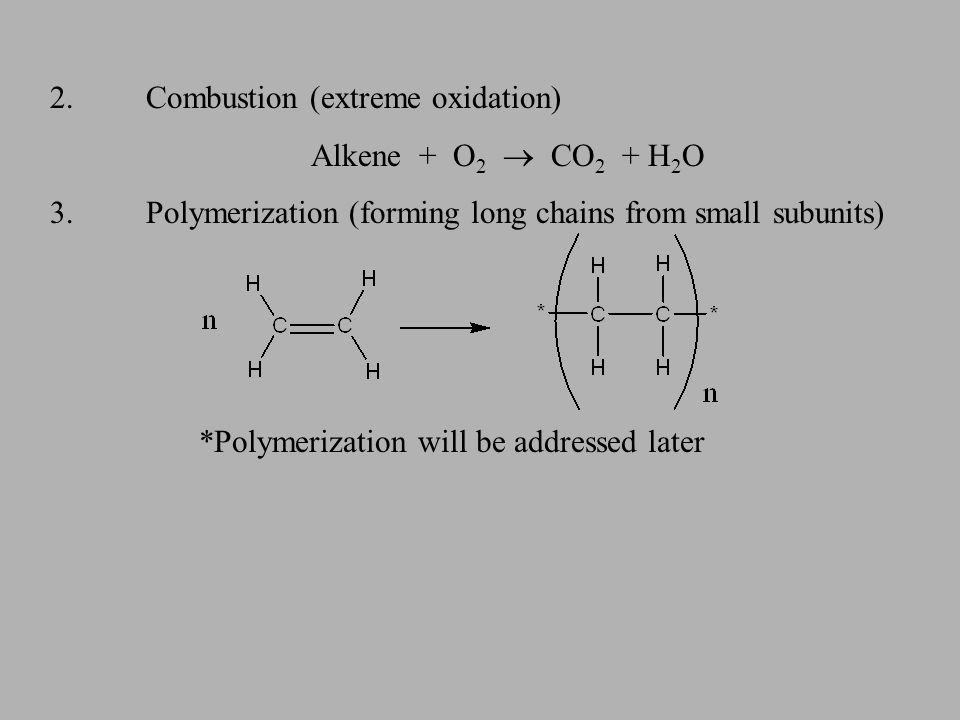 ALKYNES 1.Addition Reactions (breaking of the multiple bond) A)Halogenation (adding halides) alkyne + 2 halogens haloalkane alkyne + 1 halogen haloalkene