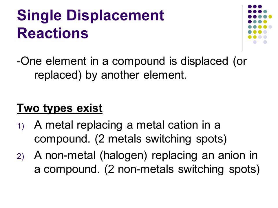 Single Displacement Reactions -One element in a compound is displaced (or replaced) by another element.
