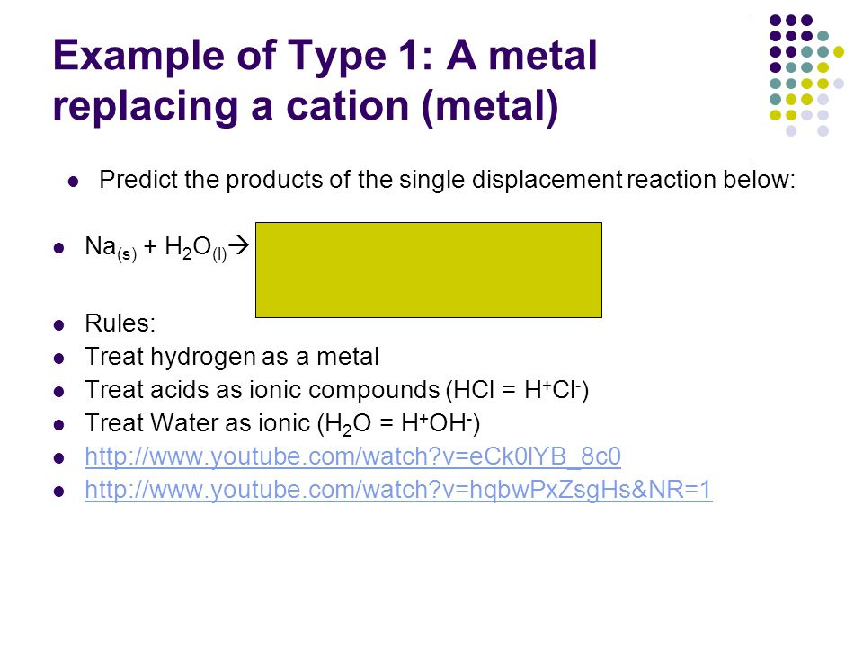 Example of Type 1: A metal replacing a cation (metal) Predict the products of the single displacement reaction below: Na (s) + H 2 O (l)  NaOH (aq) + H 2(g) Rules: Treat hydrogen as a metal Treat acids as ionic compounds (HCl = H + Cl - ) Treat Water as ionic (H 2 O = H + OH - ) http://www.youtube.com/watch?v=eCk0lYB_8c0 http://www.youtube.com/watch?v=hqbwPxZsgHs&NR=1