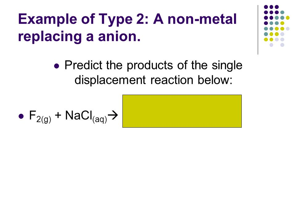 Example of Type 2: A non-metal replacing a anion.
