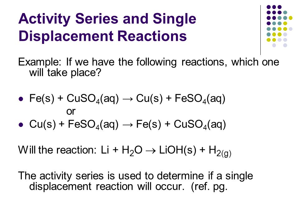 Example of Type 2: A non-metal replacing a anion. Predict the products of the single displacement reaction below: F 2(g) + NaCl (aq)  NaF (aq) + Cl 2
