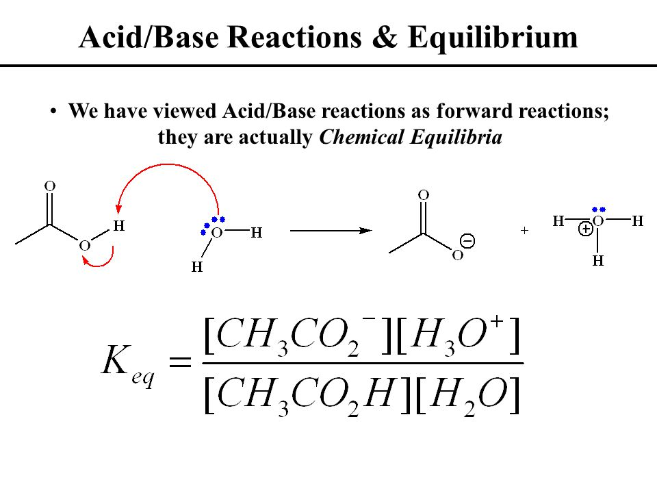 Acid/Base Reactions & Equilibrium We have viewed Acid/Base reactions as forward reactions; they are actually Chemical Equilibria