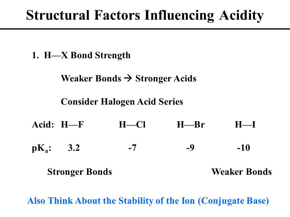 Structural Factors Influencing Acidity 1.