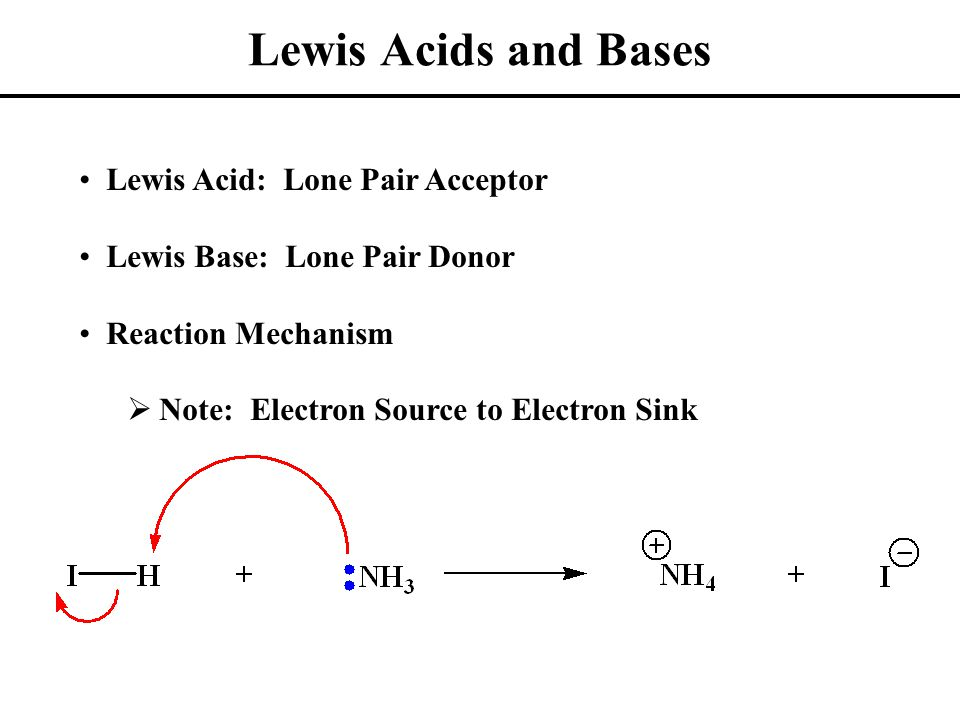 Lewis Acids and Bases Other Lewis Acids:ZnCl 2 FeBr 3  Have Available Acceptor Orbital Other Lewis Bases:R-OHBr 2  Have Lone Pair to Donate Lewis Acid/Base Reactions Essentially Electrostatic (Opposite Charges Attract)