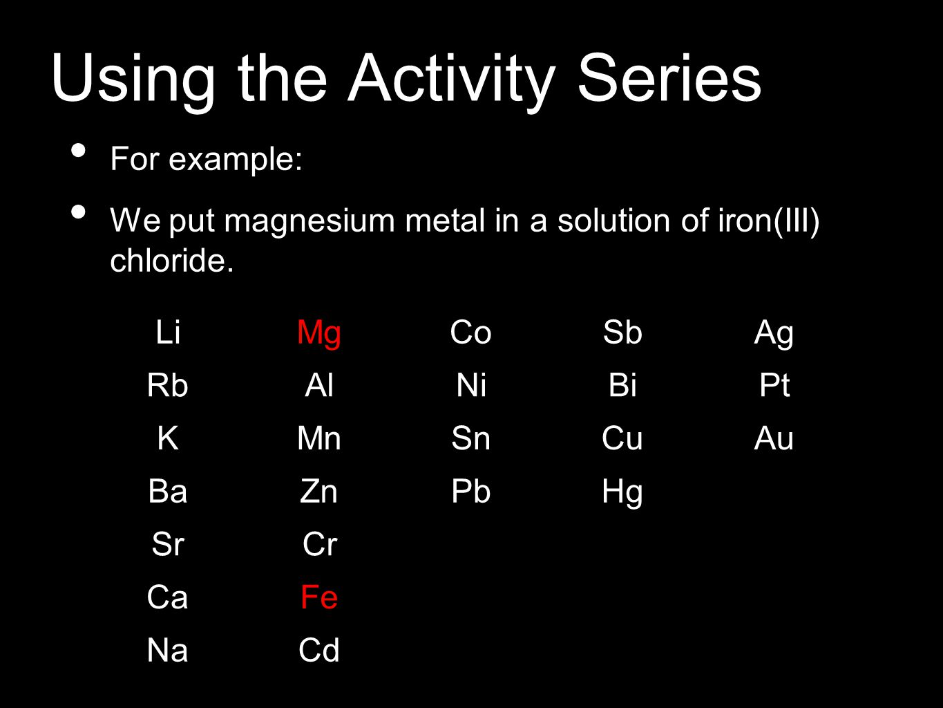 Using the Activity Series For example: We put magnesium metal in a solution of iron(III) chloride. LiMgCoSbAg RbAlNiBiPt KMnSnCuAu BaZnPbHg SrCr CaFe