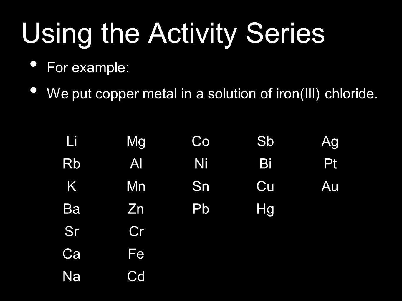 Using the Activity Series For example: We put copper metal in a solution of iron(III) chloride. LiMgCoSbAg RbAlNiBiPt KMnSnCuAu BaZnPbHg SrCr CaFe NaC