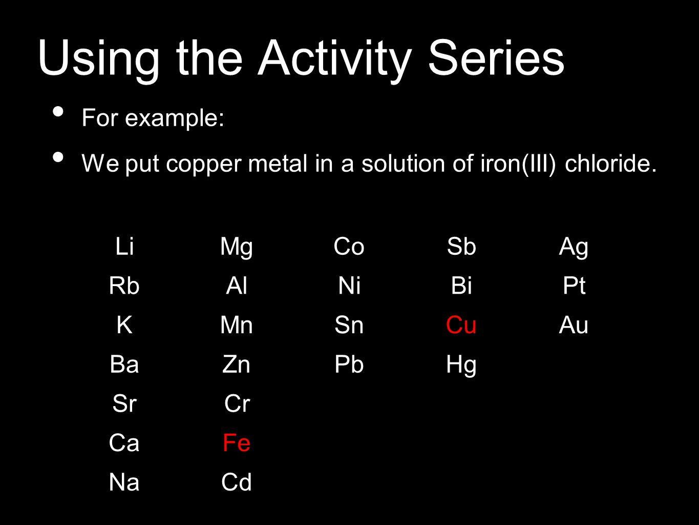 Using the Activity Series For example: We put copper metal in a solution of iron(III) chloride.
