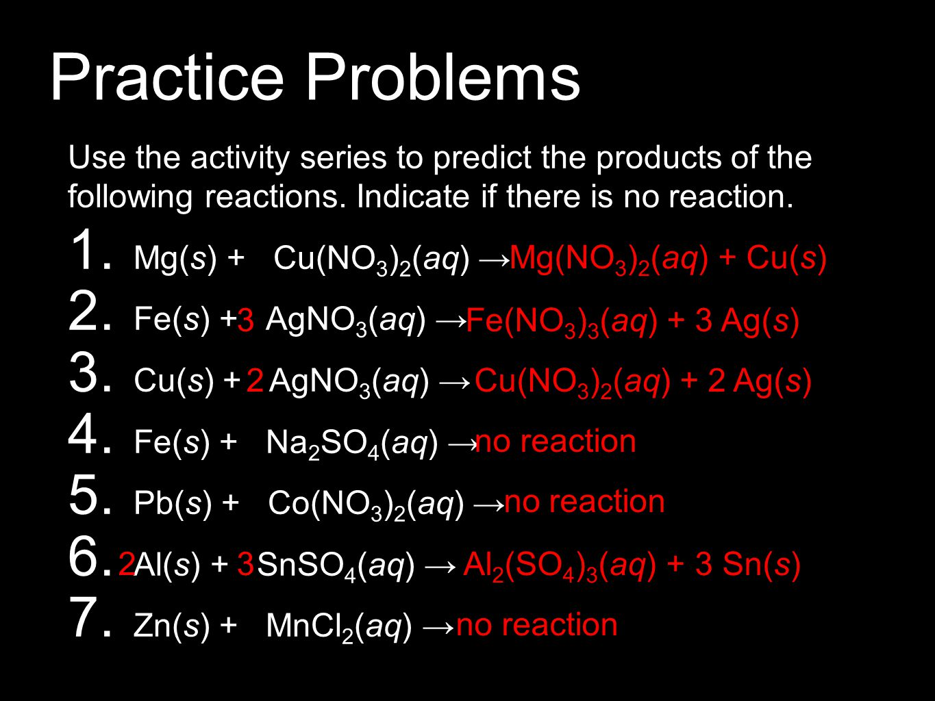 Practice Problems Use the activity series to predict the products of the following reactions. Indicate if there is no reaction. 1. Mg(s) + Cu(NO 3 ) 2