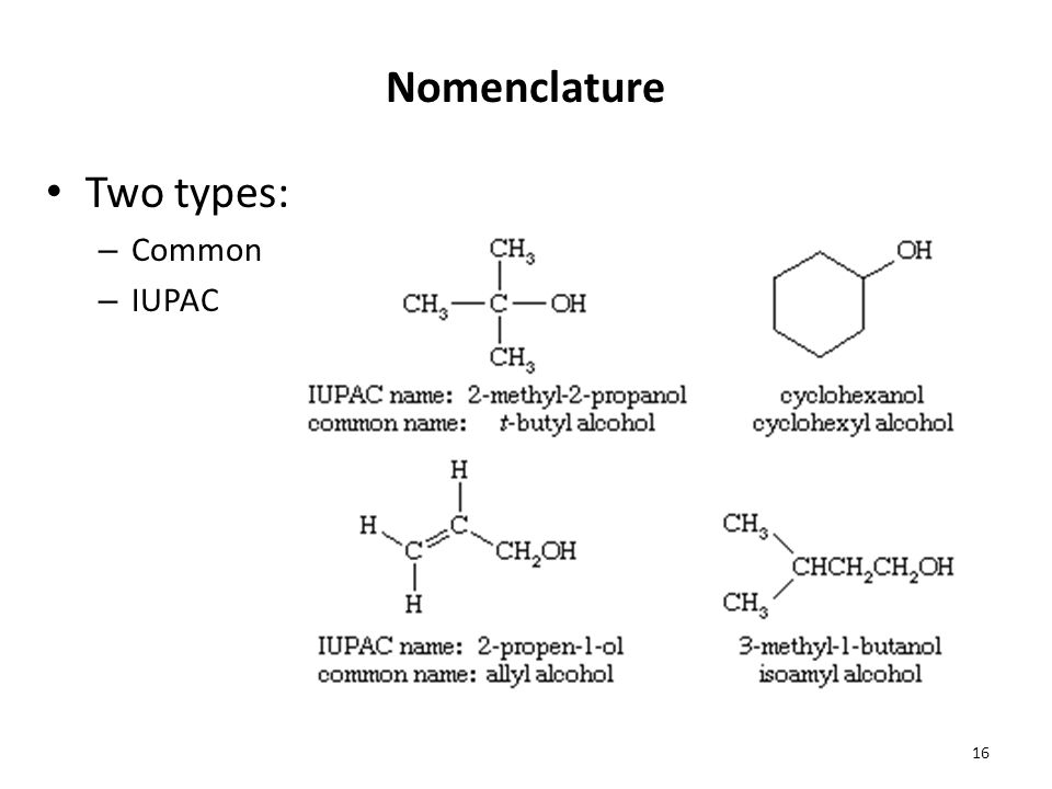 Nomenclature Two types: – Common – IUPAC 16