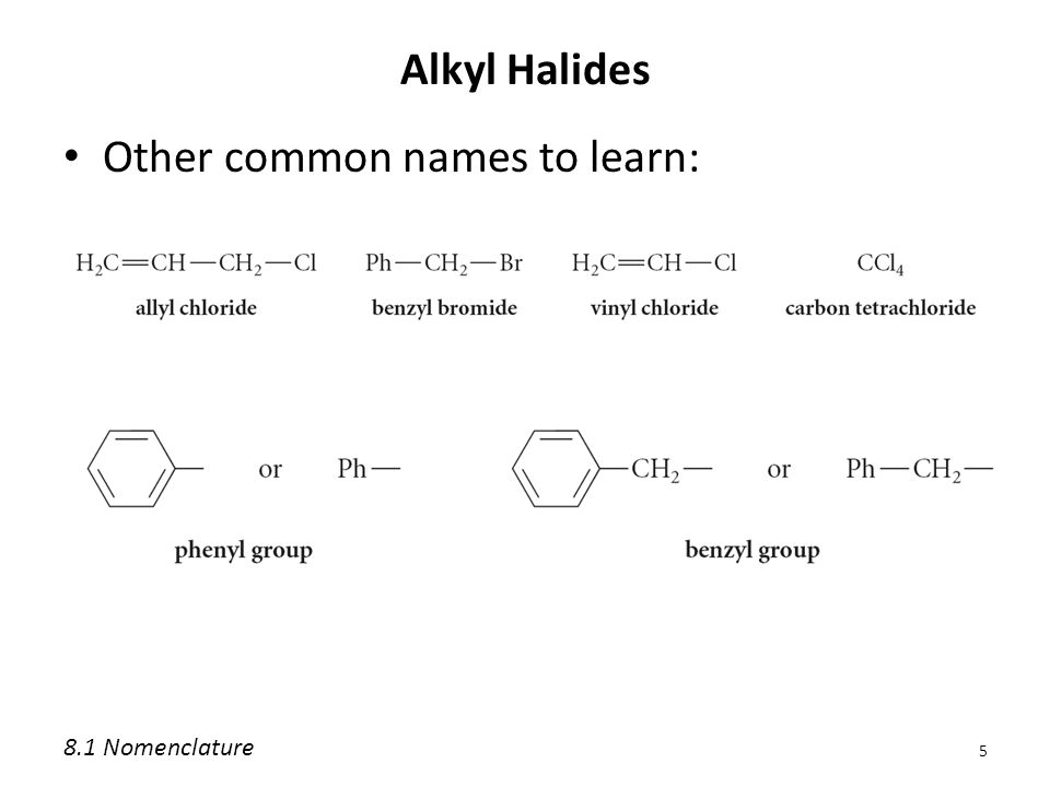 Alkyl Halides Other common names to learn: 5 8.1 Nomenclature