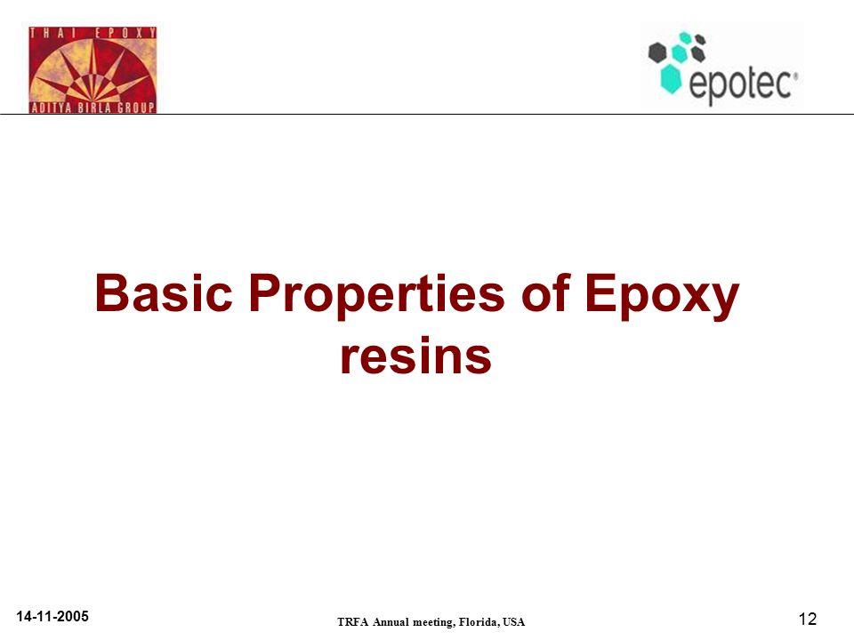 14-11-2005 TRFA Annual meeting, Florida, USA 12 Basic Properties of Epoxy resins