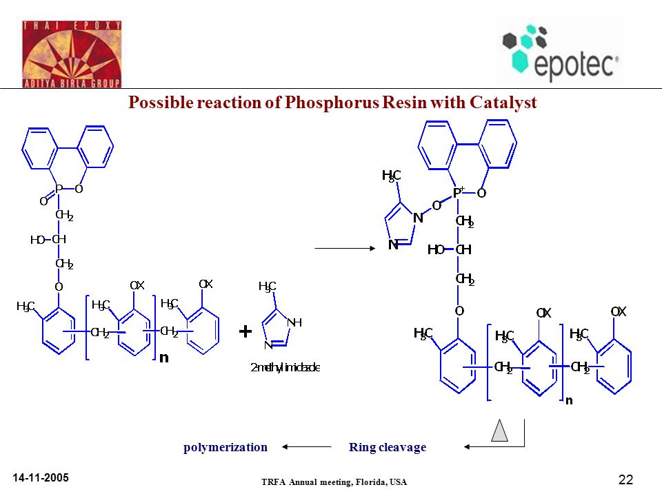 14-11-2005 TRFA Annual meeting, Florida, USA 22 Possible reaction of Phosphorus Resin with Catalyst Ring cleavagepolymerization